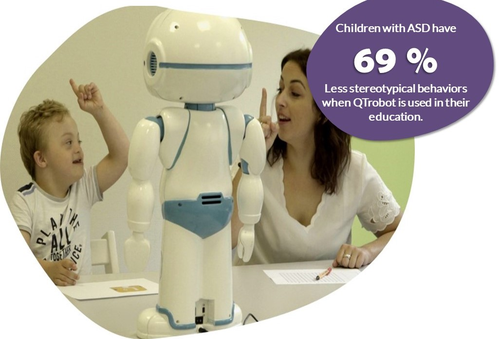 robot helping students with ASD to engage
