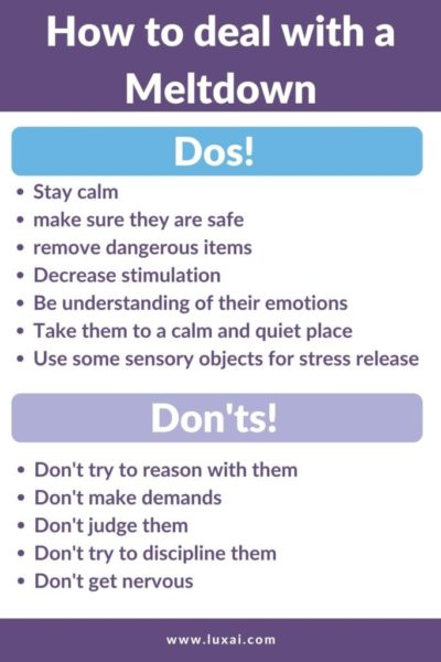 Dos and Don'ts how to deal with a meltdown