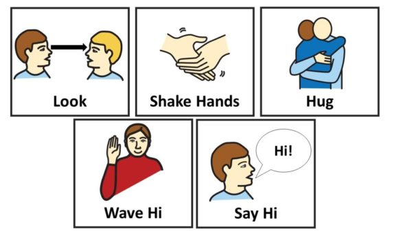Using visual support and stimuli for teaching greeting to children with autism