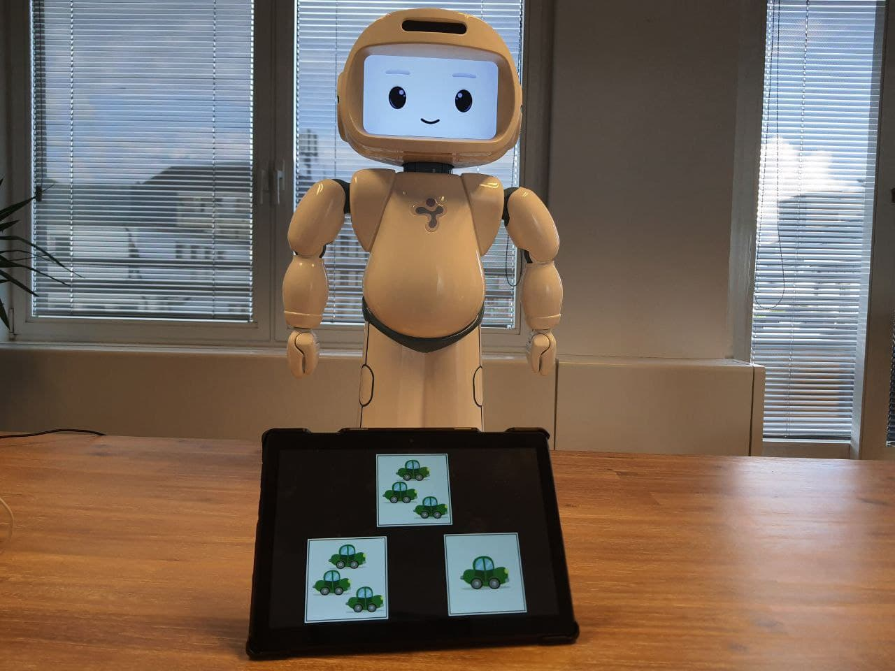 QTrobot teaching math to children with autism at home